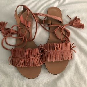 ASOS pink laceup fringe sandals with tassels